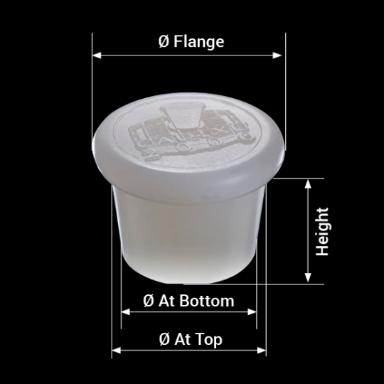 measures silicone barrel bung with logotype model