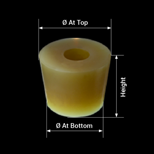 measures silicone barrel bung with hole model