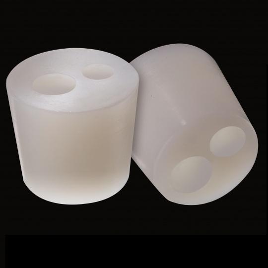 tapón de silicona para barricas modelo cónico con agujero de color blanco