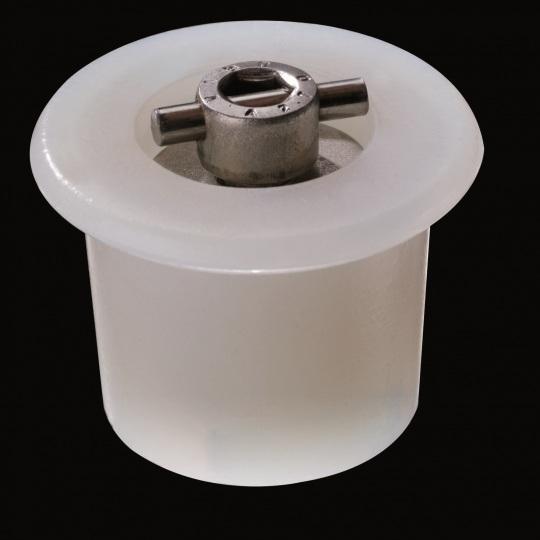 tapón de silicona para barricas modelo mecanismo en cruz de color blanco
