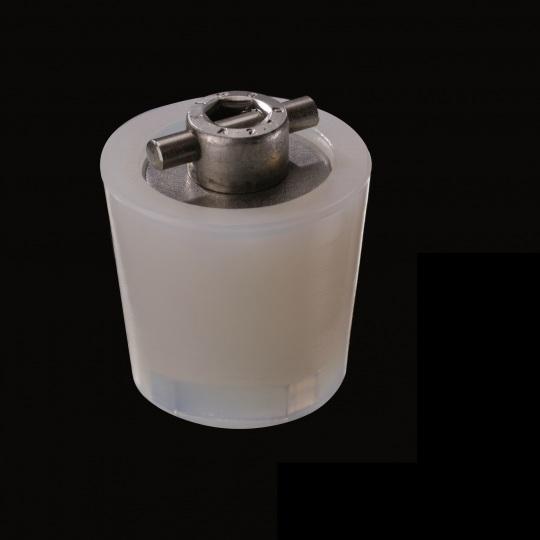 tapón de silicona para barricas modelo mecanismo en cruz falsete de color blanco