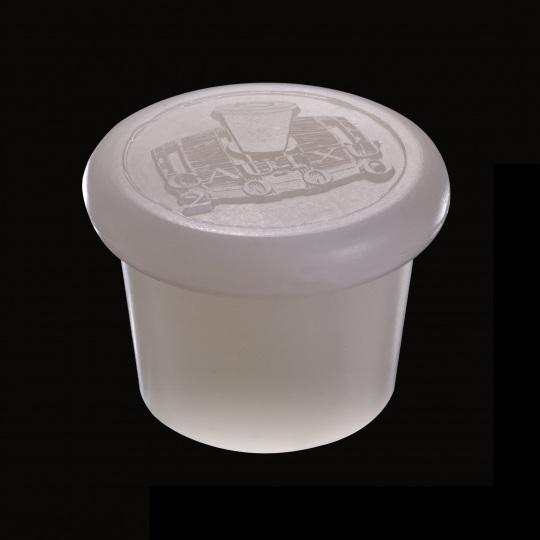 tapón de silicona para barricas modelo zeta con logotipo de color blanco