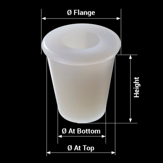 measures silicone bung universal model